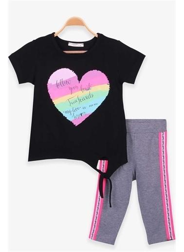 Breeze Kız Çocuk Kapri Taytlı Takım Kalp Baskılı Siyah  Siyah